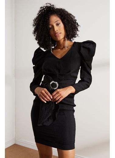 Setre Siyah V Yaka Truvakar Kol Mini Elbise Siyah